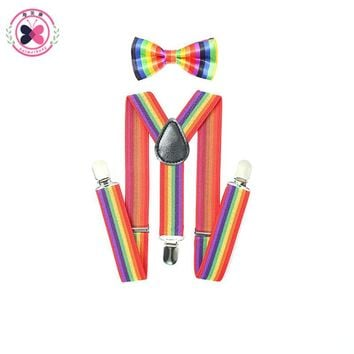 1Set Suspenders Braces Kids Bow tie Adjustable Boys Girls 3 Clip-on Y Back Elastic Dot Children Bow Ties Suspensorio