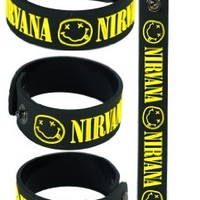 Nirvana New! Rubber Bracelet Wristband Aa100 Black Nevermind