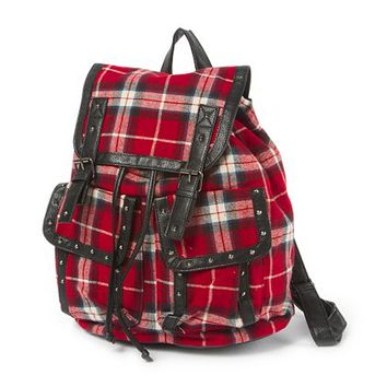 Plaid Backpack with Stud Detail  | Claire's