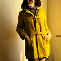 Vintage 1960s Canary Yellow Fall Coat with Hood by GinnyandHarriot