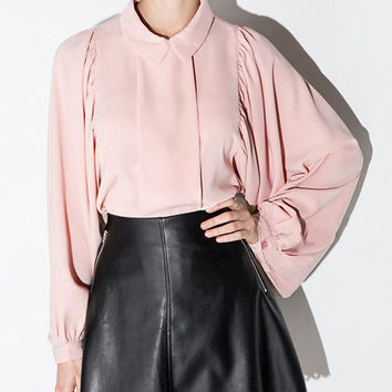 Pink Lapel Puff Sleeve Loose Blouse