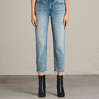 ALLSAINTS UK: Womens Boys Frayed Jeans (LIGHT INDIGO BLUE)