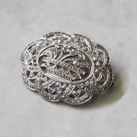 ART DECO Sterling Brooch Large FLOWER Basket Prong-set Marcasite Openwork, Antique Womens Jewelry, Wedding Bride Mom Gift for Her