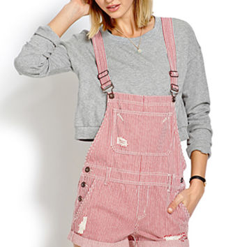 Railroad Striped Overall Shorts