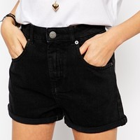 ASOS Denim Mom Short In Washed Black