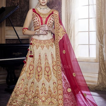 Women's Dupioni Raw Silk Fabric & Brown Color Pretty Unstitched Lehenga Choli