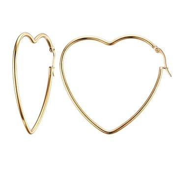 Elegant Big Heart Hoop Earring