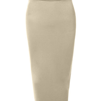 LE3NO Womens Stretchy High Waisted Pencil Midi Skirt with Back Slit