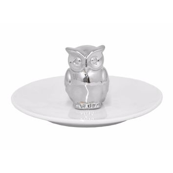 68498 Shiny Ceramic Owl Figurine with Plate - Silver - Benzara