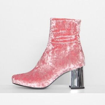 Plush velvet female boots and thick with restoring ancient ways round head sexy five-color boots Pink