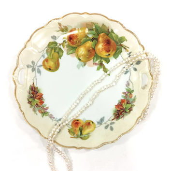 Hand Painted Plate with Handles, P S Bavaria China, Harvest Fall Pears Berries, Yellow Rust Green, Signed Mauville,  Antique Porcelain