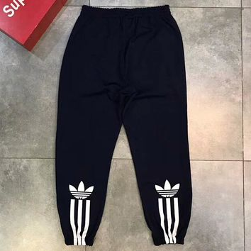ADIDAS Long Pants Side Bottom Three Line Logo Women Men Trouser B-AA-XDD Black