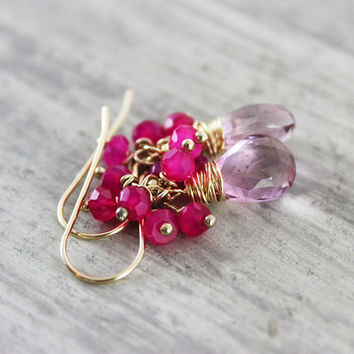Pink Gemstone Earrings, Pink Mystic Quartz, Gold Fill Earrings, Hot Pink Earrings, Light Rose Earrings, Light Pink Earrings, Small Dangle