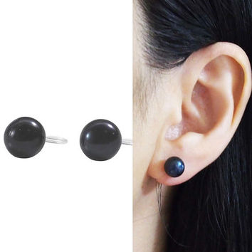 Black Freshwater Pearl Invisible Clip on Stud Earrings Non Pierced Earrings Natural Pearl Clip Earrings Bridal Clip-ons Gift for Her
