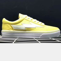Revenge x Storm x Vans Kanye West Old Skool Canvas Flat Sneakers Sport Shoes lightning yellow H-PSXY
