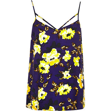 River Island Womens Purple floral print strappy cami top