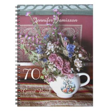 70th Birthday Party Guest Book, Vintage Teapot Notebook