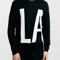 BLACK LA SLOGAN CREW NECK JUMPER - Men's Cardigans & Sweaters - Clothing