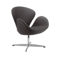 Modern Curved Swivel Chair in Gray