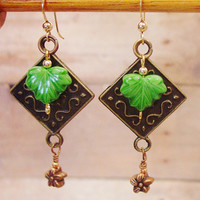 Green Maple Leaves, Gold and Copper Earrings, mixed metals, Copper flower