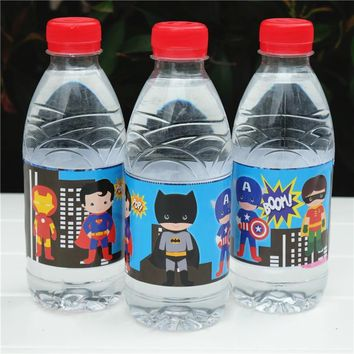 Batman Dark Knight gift Christmas 12pcs Avengers Batman Ironman Superman hero water bottle label candy bar kids birthday party supplies baby shower party favor AT_71_6