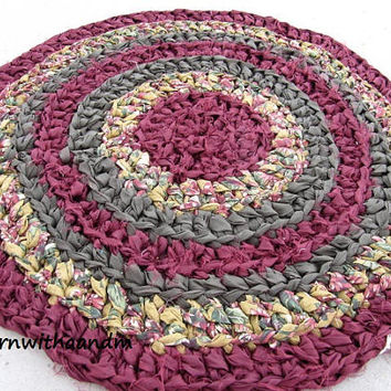 Royal circle crocheted circle rag rug, eco friendly, washable, earth colors, shabby chic, cottage rug, durable, bathmat, kitchen, home decor