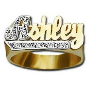 14k Gold Overly Any Name Ring Letters Personalized Jewelry/a3