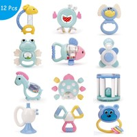 Baby Toys Plastic Hand Jingle Shaking Bell Lovely Hand Shake Bell Ring 12PCS Baby Rattles Toys Newborn Macarons Teether Toys