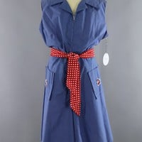 Vintage 1960s Nautical Blue Chambray Romper