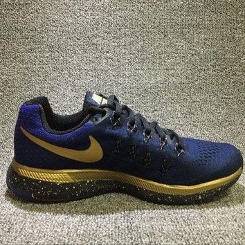 VONE05A Newest Nike Air Zoom Pegasus 33 LE MJ Metallic Gold Black Women's Running Shoes