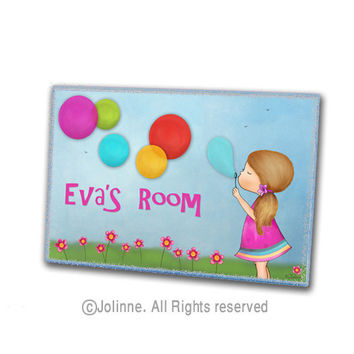 Personalized door sign, kids room , girls room decor