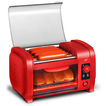 Cuisine Hot Dog Roller/Toaster Oven Red