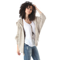Knit cardigan in fleck yarn with hooded neck