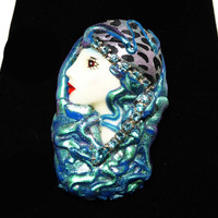 Women in Fashion Brooch - Iridescent Blue & Green - Animal Print and Rhinestones - Face Red Lipstick - Ladies Profile - Retro 1980's Era