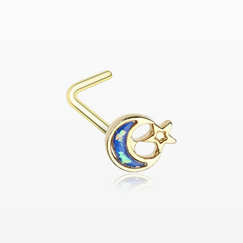Golden Opal Sparkle Crescent Moon & Star L-Shaped Nose Ring