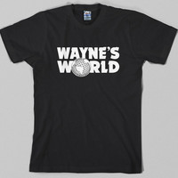 Wayne's World T Shirt  - waynes, logo, snl, saturday night live, movie, wayne stock, garth, 90s - Graphic tee, All Sizes & Colors
