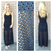 Black Crochet Knit Lena Maxi Dress