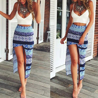 White Spaghetti Strap Low Cut Tank Top with Printed Skirt Twinset