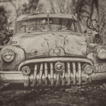 Classic Car Photography, Buick Super Photo, Abandoned Rusted Car, Man Cave Decor, Manly Artwork, Garage Decor, Car Enthusiast, Gift for Him