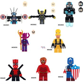 50pcs Captain America Yellow Jacket Figures Iron Man Galactus War Machine Deadpool The Flash building block for children toys