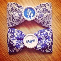 Dodgers lace handmade fabric hair bow from Bowlicious Divas Bowtique