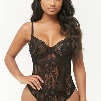 Striped Mesh & Lace Bodysuit
