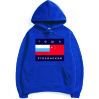 Gosha Rubchinskiy  couple sets the head sweater couple models Plus velvet hooded sweater simple printing class service