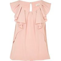 light pink sleeveless frill top - sleeveless tops - tops - women - River Island