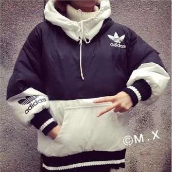 ADIDAS Fashion loose cotton-padded jacket bread warm cotton-padded clothes suit men and women Black