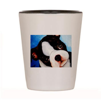 Boston Terrier Shot Glass Ceramic cup of Original Dog Art Painting