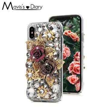 Golden Rose Leaves Bling Diamond Case For iPhone X 6 6S 7 8 Plus Hard PC Clear Rhinestone 3D Handmade Crystal Phone Back Cover