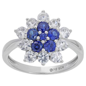 .70 Ct Round Blue Sapphire White Sapphire Flower Ring in Sterling Silver