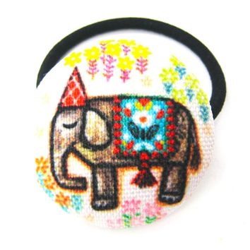 Colorful Hand Drawn Elephant Animal Themed Button Hair Tie Pony Tail Holder