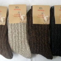 Women's Socks Wool Socks Alpaca Wool Chunky Knitted 4 Colors Size 35 Bis 42